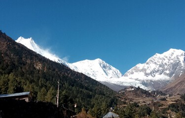 View of Mt. Manaslu from Lho Village
